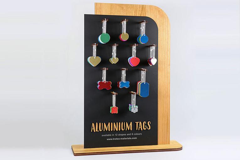 exhibidor de tarjetas de aluminio
