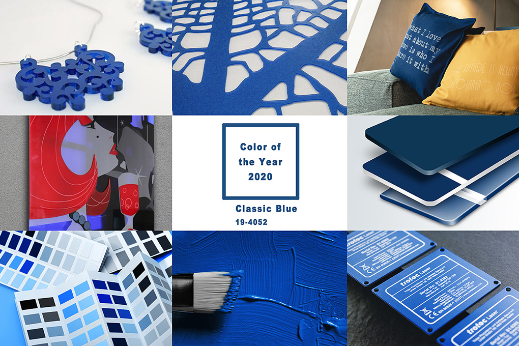 laser engraving material in pantone color blue