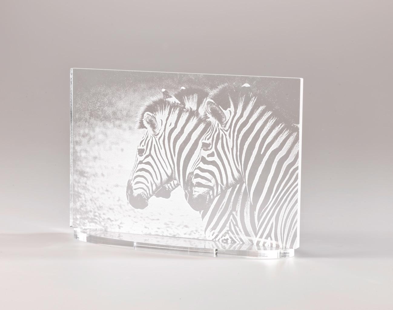Weißes Gravurbild auf Acrylglas