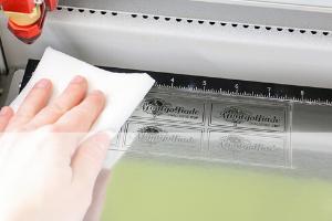 Cleaning engraving laminates