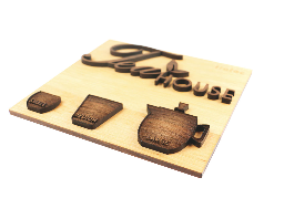 wooden tea house signage